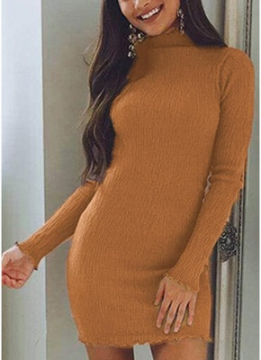 Slim Bodycon Dress High Neck Long Sleeve Knitted Elastic Sweater Party Night Dress_2