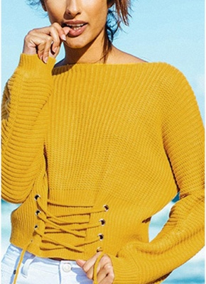 Sexy Off Shoulder Sweater Slash Neck Lace-Up Bandage Women's Pullover_3