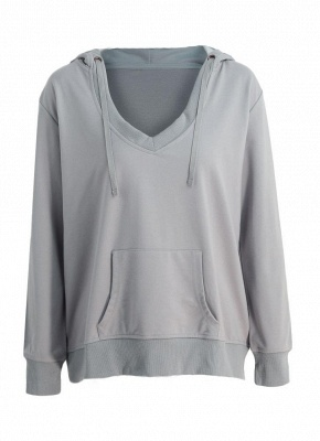 Deep V Neck Kangaroo Pocket Long Sleeve Loose Hoodies Pullover_1