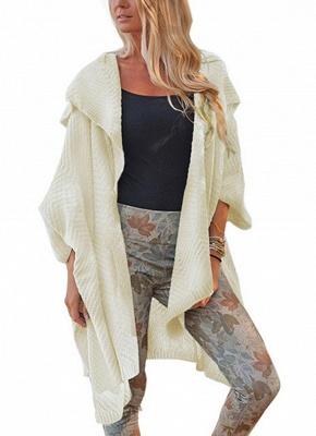 Women Loose Sweater Cardigan Open Front Batwing Sleeve Solid Split Knitted Outerwear_1