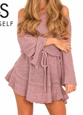 Shoulder Elegant Ruffle Sash Long Sleeve Women's Sweater Dress_2