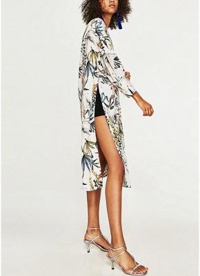 Women Flower Print Sash Kimono Shirt Retro Bandage Cardigan Blouse Top_4