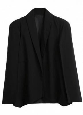 New Women Cape Blazer Lapel Split Pockets Casual Solid Cloak Coat Suit_6
