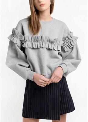 Women Loose Sweatshirt Solid Color Ruffle Round Neck Long Sleeve Casual Autumn Winter Fleece_1
