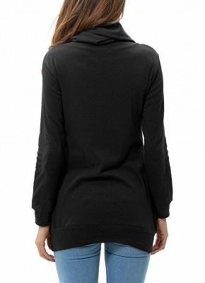Women Sweatshirts Turtle Neck Pockets Pullover Long Loose Blouse Outwear Tops_6