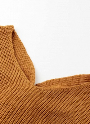 Women Loose Knitted Pullovers V Neck Back Bow Long Sleeves Dropped Shoulder Cross Casual Knit Jumper Top_7