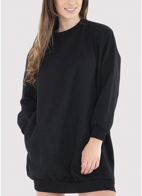 Fashion Women Plain Baggy Long O Neck Pockets Jumper Long Sweatshirt_2