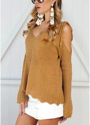 Women Knitted Sweater V Neck Cold Shoulder Flare Sleeve Spaghetti Straps Streetwear_6