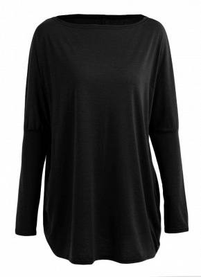 Loose Hoodies Solid O-Neck Batwing Long Sleeves Casual Soft Top Pullover_3