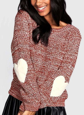 Women Loose Knitted Sweater Elbow Heart Patch Solid Long Sleeve Knit Pullover_2