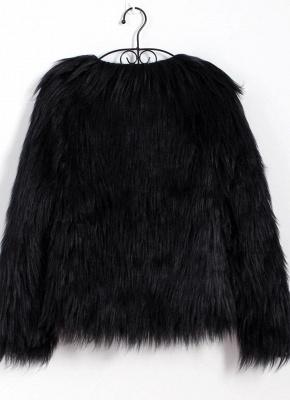 Faux Fur Coat Long Sleeve Fluffy Outerwear Short Jacket Hairy Warm Overcoat_12