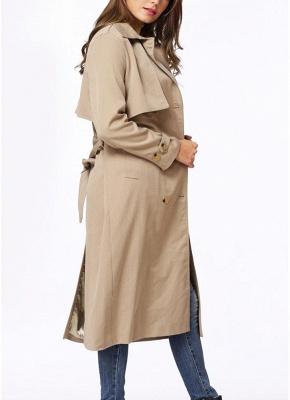 Women Winter Lined Turn-down Collar Double-breasted Button Closure Windbreaker Coat_6