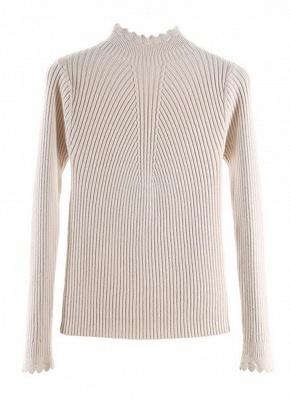 Fashion Women Turtleneck Long Sleeve Ruffled Knitting Sweater_4