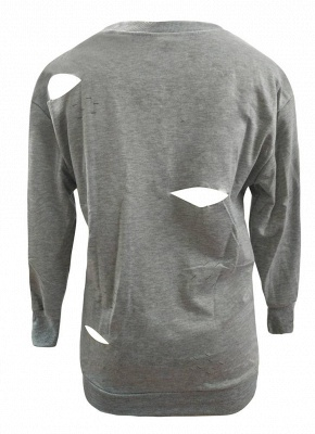 Ripped Holes O-Neck Long Sleeves Distressed Pullover Top_4