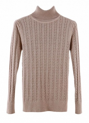 Fashion Women Twisted Turtleneck Long Sleeve Knitted Sweater_6