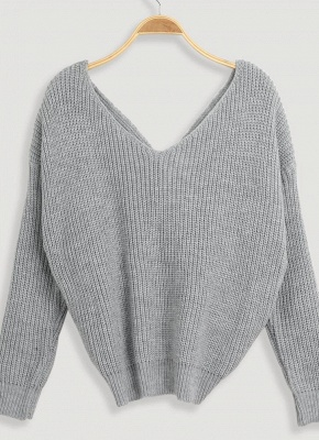 Women Loose Knitted Pullovers V Neck Back Bow Long Sleeves Dropped Shoulder Cross Casual Knit Jumper Top_2