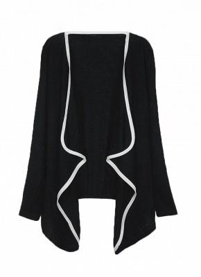 Fashion Contrast Asymmetric Long Sleeve Cape Cardigan_2