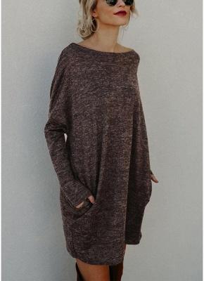 Women Loose Knit Sweater Dress Long Sleeves Pockets Party Mini Straight Dress_2