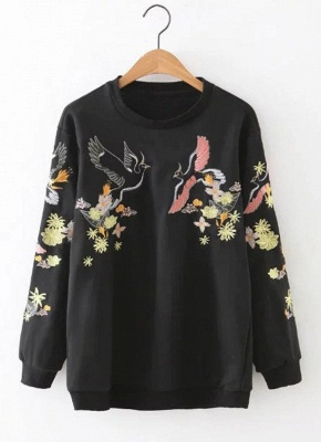 Women Sweatshirt Floral Bird Embroidery Long Sleeves O-Neck Casual Elegant Pullover Top_1