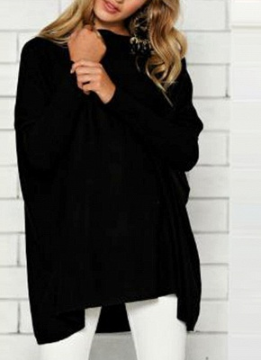 Loose Hoodies Solid O-Neck Batwing Long Sleeves Casual Soft Top Pullover_2