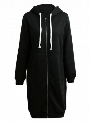 Fashion Women Hoodie Long Hooded Coat Casual Pockets Solid Jacket_2