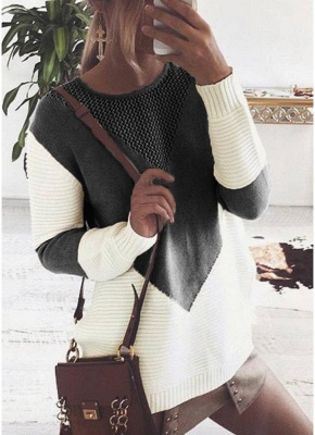 Contrast Color Round Neck Hollow Out Women Casual Knitted Sweater_2