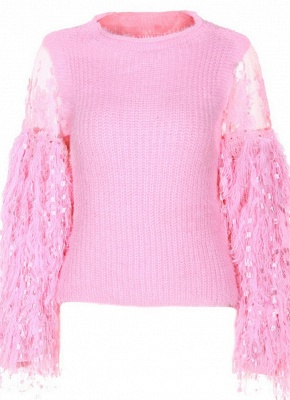 Knitted Lace Fluffy Faux Fur O-Neck Long Sleeve Sweater_2