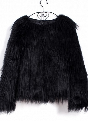Faux Fur Coat Long Sleeve Fluffy Outerwear Short Jacket Hairy Warm Overcoat_13
