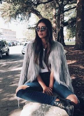 Faux Fur Coat Long Sleeve Fluffy Outerwear Short Jacket Hairy Warm Overcoat_9