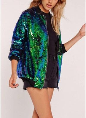 Fashion Women Sequins Coat Bomber Jacket Long Sleeve Zipper Streetwear Casual Loose Glitter Outerwear_4
