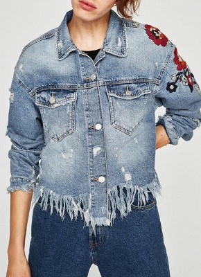 Women Floral Embroidery Ripped Fringe Casual Denim Jacket_4