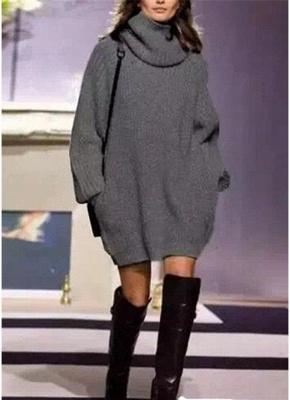 Winter Women Warm Oversize Turtleneck Sweater Long Sleeve Pockets Casual Rib Knitted Mini Dress_2