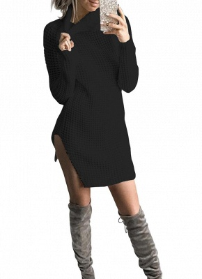 Women Casual Winter Solid Knitted Sweater Dress_7