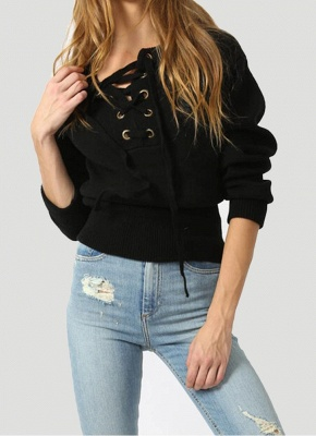 Lace-Up Knit Sweater V Neck Long Sleeves Ribbed Cuffs Hem Women's Pullover_4