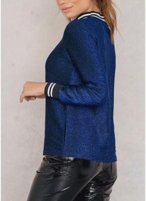 Women Metallic Blouse High Neck Long Sleeves Stripe Casual Elegant Pullover Top_5