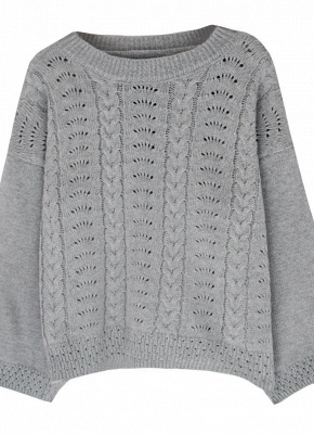 Women Loose Knitted Sweater O-Neck Long Sleeve Solid Warm Pullovers Top Knitwear_3
