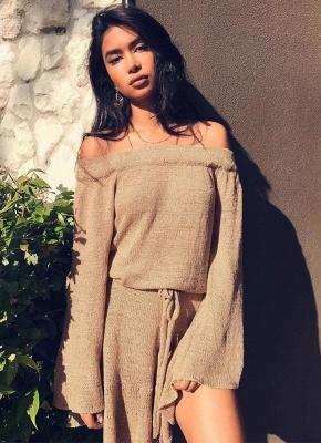 Shoulder Elegant Ruffle Sash Long Sleeve Women's Sweater Dress_5