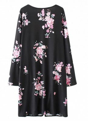Fashion Long Cardigan Front Floral Print Long Sleeves Women's Outerwear_5