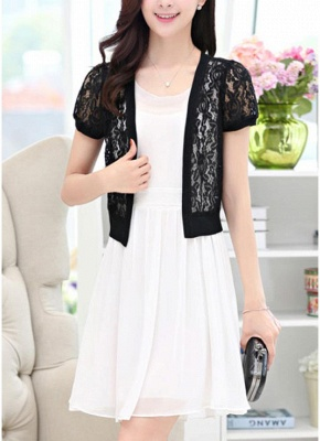 Women Lace Cardigan Open Front Casual Office Beach Top Short Outerwear_3