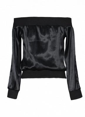 Women Off the Shoulder Satin Jacket Zipper Front Eyelet Hollow Out Coat_5