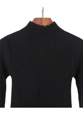 Fashion Women Turtleneck Long Sleeve Ruffled Knitting Sweater_12