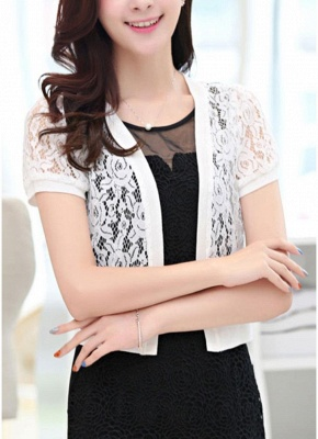 Women Lace Cardigan Open Front Casual Office Beach Top Short Outerwear_2