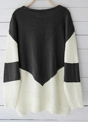 Contrast Color Round Neck Hollow Out Women Casual Knitted Sweater_6