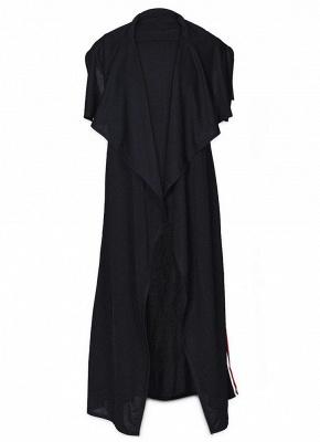 Women Coat Outerwear Striped Belt Sleeveless Turn-Down Collar Open Front Casual Long Overcoat_9