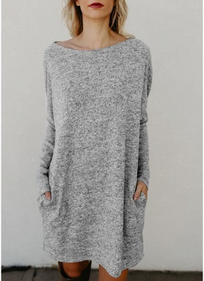 Women Loose Knit Sweater Dress Long Sleeves Pockets Party Mini Straight Dress_5
