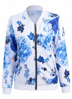 Floral Print Coats Long Sleeve Zipper Bomber Jacket Casual Top Streetwear_6