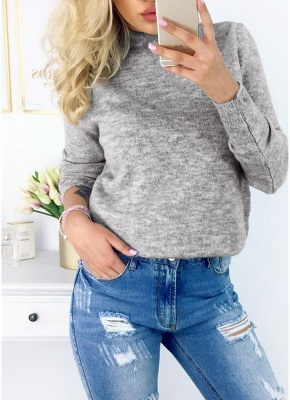 Knitted Sweater V-Neck Long Sleeves Solid Color Knit Jumper Pullovers Tops_4