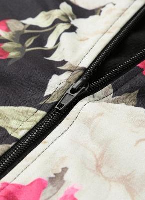 Fashion Women Floral Print Jacket Coat Zipper Long Sleeve Pocket Bomber Jacket_6