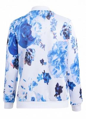 Floral Print Coats Long Sleeve Zipper Bomber Jacket Casual Top Streetwear_5