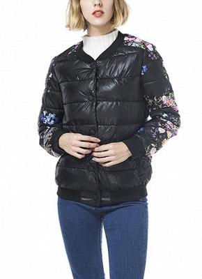 Winter Women Floral Print Quilted Long Sleeve Cotton Padded Jacket Coat_2